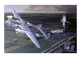 WWII, Lockheed P38 Lightning Reproduction procédé giclée par Paul Wollman