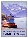 Simplon Electric Train Alps Giclee Print