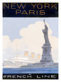 French Line, New York to Paris Giclee Print