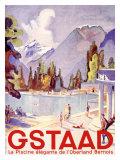 Gstaad Swiss Ski Resort Poster Lámina giclée