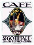 St. Gotthard Café Giclee Print by Otto Baumberger