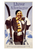 Allemagne Snow Ski Resort Giclee Print
