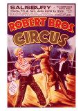 Robert Bros Boxing Kangaroo Circus Poster Lámina giclée