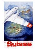 Suisse par Avion Airline Giclee Print