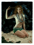 Pin-Up Girl: Exotic Redhead Grotto Giclee Print by Richie Fahey