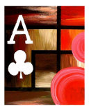 Abstract Red Ace Of Clubs Giclee Print by Teo Alfonso