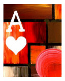 Abstract Red Ace Of Hearts Giclee Print by Teo Alfonso