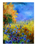 Blue Wildflowers with an Orange Tree Giclee Print by Pol Ledent