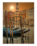 Gondolas on Grand Canal in Venice Near Rialto Photographic Print by Michael Henderson