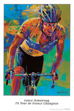 Lance Armstrong, Seven Times Tour de France Champion Print by Malcolm Farley