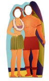 Surfboard Couple Silhouette en carton