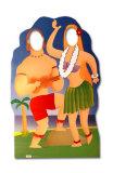 Silhouette découpée trompe-l'œil - Couple hawaïen  Silhouettes découpées grandeur nature