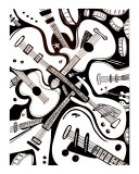 Guitar Pile Giclee Print by Jerry Clovis