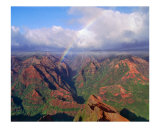 Waimea Canyon with Rainbow Photographic Print by George Oze