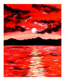 Abstract Red Sunset Giclee Print by Teo Alfonso