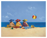 Three Ladies Sunning Print by Michael Paraskevas