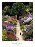 De tuinkat, zwarte kat in kleurrijke tuin Print van Greg Gawlowski