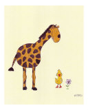 Giraffe and Duck Giclee Print by Leighann Hill