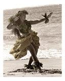 hula dancer in tapa skirt 2 Fotografisk tryk af Himani