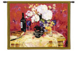 White Roses with Wine Wall Tapestry