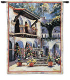 Placita de las Flores Wall Tapestry by Mary Schaefer