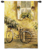 Courtyard Bicycle Wall Tapestry by Miguel Dominguez