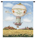 Flight over Sunflowers Wall Tapestry by Alexandra Churchill
