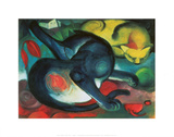 Two Cats Print by Franz Marc