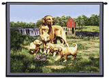 Golden Retreiver Family Wall Tapestry