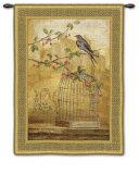 Oiseav Cage Cerise II Wall Tapestry by Fabrice De Villeneuve
