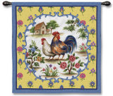 Country Roosters Wall Tapestry