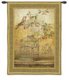 Oiseav Cage Cerise I Wall Tapestry by Fabrice De Villeneuve