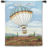 Balloon over Poppy Wall Tapestry by Alexandra Churchill