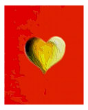 Yellow Topographic Poker Heart Photographic Print by Teo Alfonso