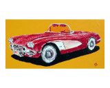 1958 Corvette Giclee Print by Benjamin Walker