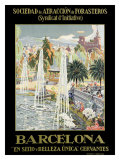 Barcelona Spain Fountain Reproduction procédé giclée