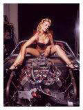 Pin-Up Girl: V8 Engine Giclée-tryk af David Perry