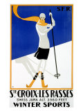 St Croix, Snow and Ski Giclee Print