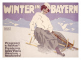 Bavarian Winter Snow Sports Giclee Print