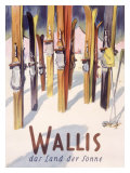 Wallis Winter Snow Ski Travel Poster Stampa giclée