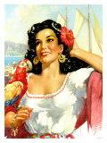 Senorita with Parrot Giclee Print
