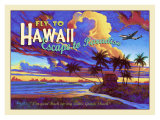 Fly to Hawaii Clipper Airline Giclée-tryk af Rick Sharp