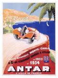 Antar Motor Oil Monte Carlo Rallye Giclee Print by M. Pecnard