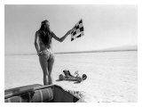 Pin-Up Girl: Salt Flat Checkerd Flag Giclee Print by David Perry