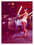 Pin-Up Girl: Street Rod Body Shop Giclee Print by David Perry