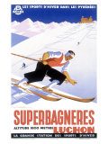 Luchon Superbagneres, Snow Ski Impression giclée par Gaston Gorde