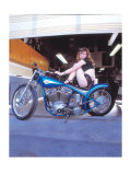 Pin-Up Girl: Blue Chopper Giclee Print by David Perry