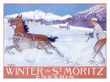 Winter in St Moritz Giclee Print