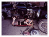 Pin-Up Girl: Street Rod Creeper Doll Giclee Print by David Perry