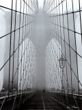 Foggy Day on Brooklyn Bridge Print by Henri Silberman